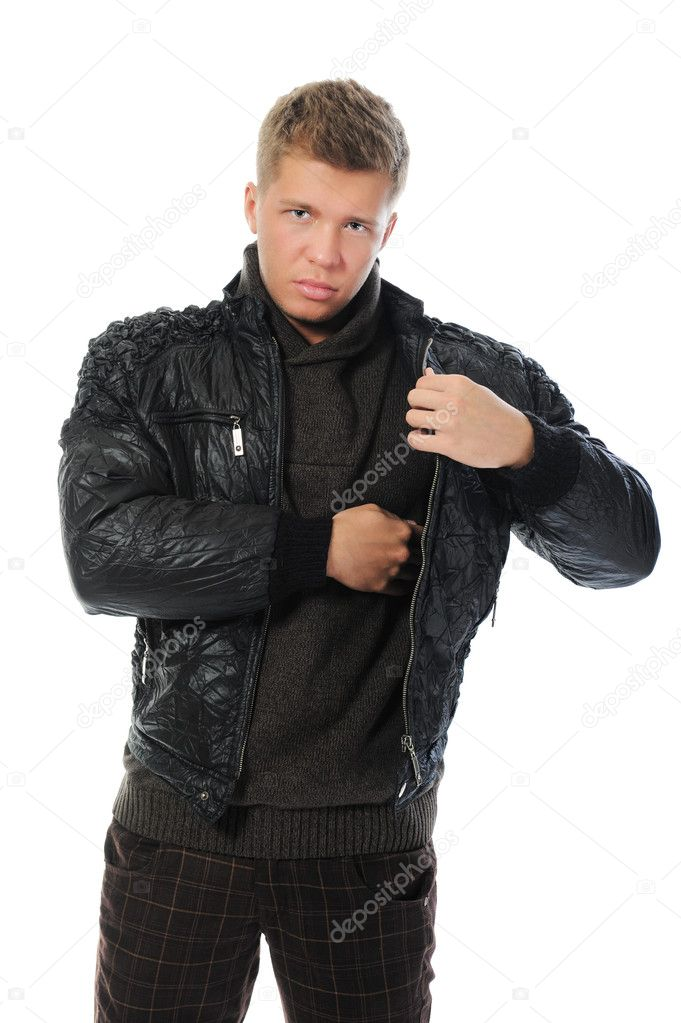 Portrait of a handsome young man in fashionable clothing. Isolated on a white background — Stock Photo #11114928