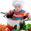 Boy with a pan — Stockfoto