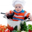 Boy with a pan — Stock Photo