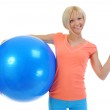 Young woman with blue ball — Stock Photo #11128531