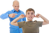 Strict father punishes his son — Stock Photo