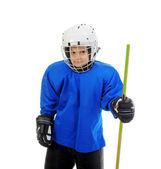маленький мальчик хоккеист — Стоковое фото