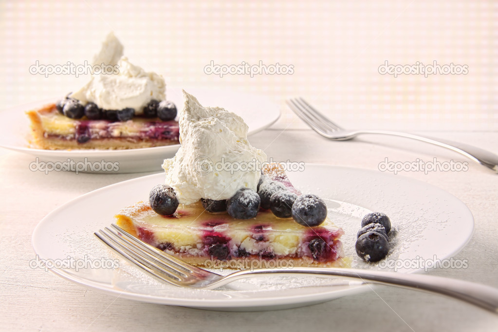 Closeup of fresh lemon blueberry tarte dessert — Stock Photo #11116451
