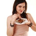 Girl eating chocolate cake. — Stock Photo