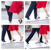 Collage of a couple dancing the tango in the streets of Buenos A — Stock Photo