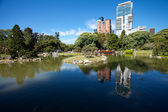 Japanese garden and the skyscrapers on a background of blue sky — Stock Photo