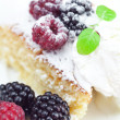 Cake with icing,icecream, raspberry, blackberry and mint on a pl — Stock Photo