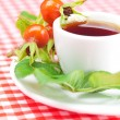 Cup of tea and rosehip berries with leaves on plaid fabric - Stock Photo
