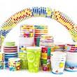 arco iris de papel taza de helado — Foto de Stock