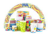 Rainbow of ice cream paper cup — Стоковое фото