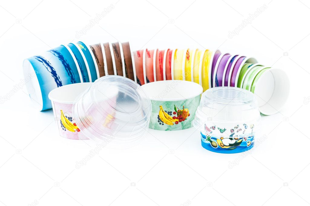 Colorfull icecream paper cup piled on white background whit a transparent cover — Stock Photo #11034478