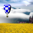 Greece style building with colorful hot air balloons — Stockfoto #11473668