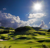 Golf place with wonderful green — Stock Photo