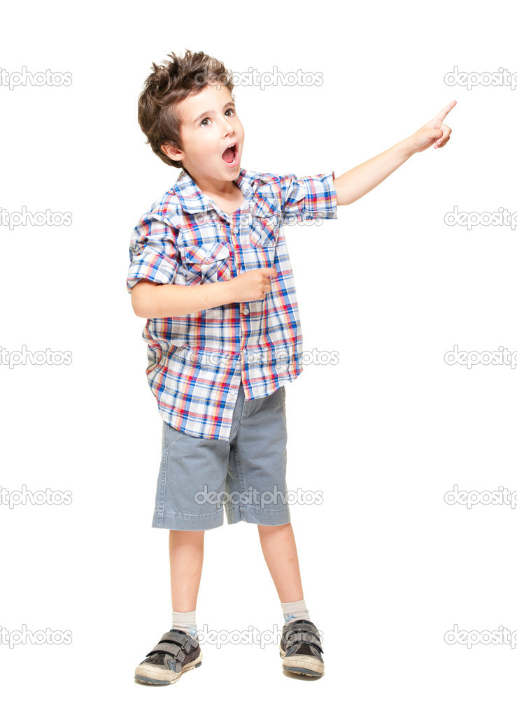 A little excited boy pointing at something isolated on white — Stock Photo #10834741