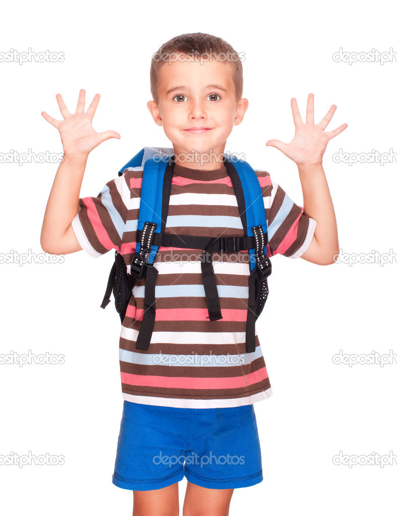 Little boy elementary student with backpack and sandwich box shows ten fingers isolated on white — Stock Photo #11193620