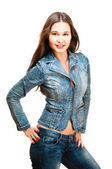 Sexy woman in jeans jacket — Stock Photo