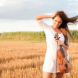 Young woman with violin outdoors — Stock Photo