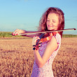 Stock Photo: Redhead womplaying violin outdoors on field. Split toning