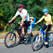Постер, плакат: Family on the bikes in the sunny forest