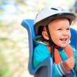 Stock Photo: Little boy in bike child seat happy laughing