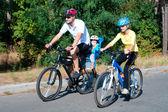 Motosiklet güneşli orman ailesi — Stok fotoğraf