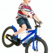 Happy naughty little boy riding bike — Stock Photo #12401929