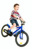 Feliz impertinente pouco montar bicicleta — Foto Stock