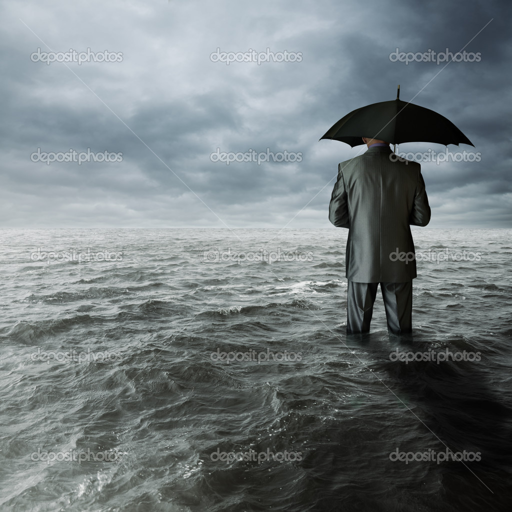 Business depression concept, man with black umbrella in ocean, selective focus — Stock Photo #11046120