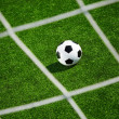 Soccer ball and goal net — Stock Photo