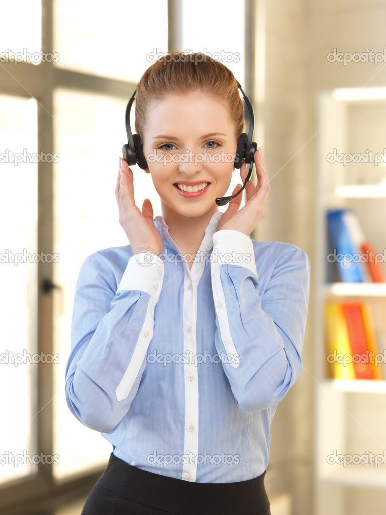 Bright picture of friendly female helpline operator — Stock Photo #10810088