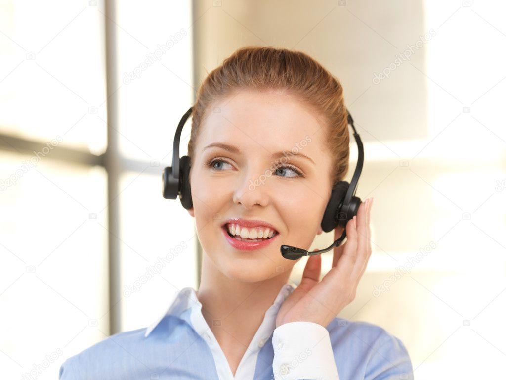Bright picture of friendly female helpline operator — Stock Photo #10810101