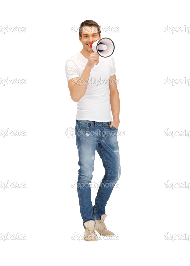 Bright picture of handsome man with megaphone. . — Stock Photo #10833727
