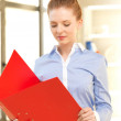 Calm woman with documents — Stock Photo #10930560