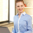 Happy woman with laptop computer — Stock Photo #10930620