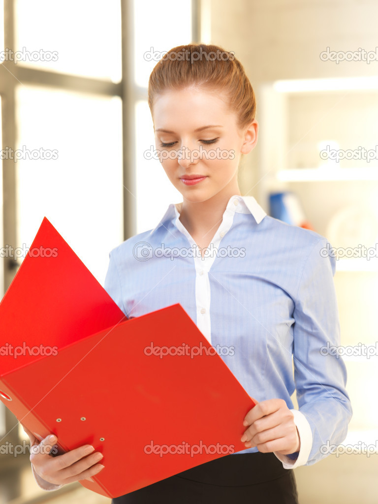 Indoor picture of calm woman with documents — Stock Photo #10930560