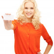 Attractive student with business card - Stock fotografie