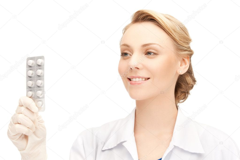 Picture of attractive female doctor with pills — Stock Photo #11132298