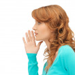 Teenage girl whispering gossip — Stock Photo