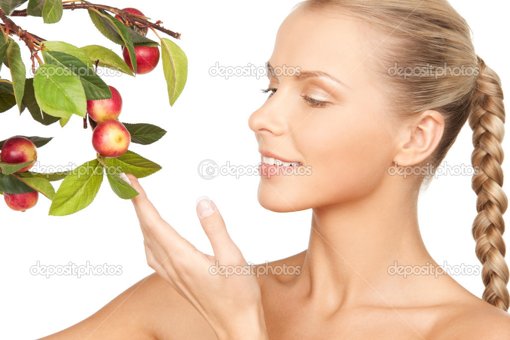 Picture of lovely woman with apple twig — Stock Photo #11247810