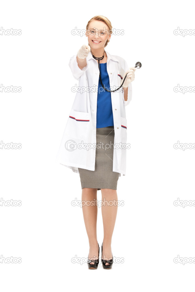 Picture of attractive female doctor pointing her finger — Stock Photo #11314291