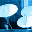 Parabolic satellite dish receivers — Stock fotografie