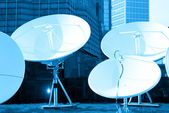 Parabolic satellite dish receivers — Stock Photo