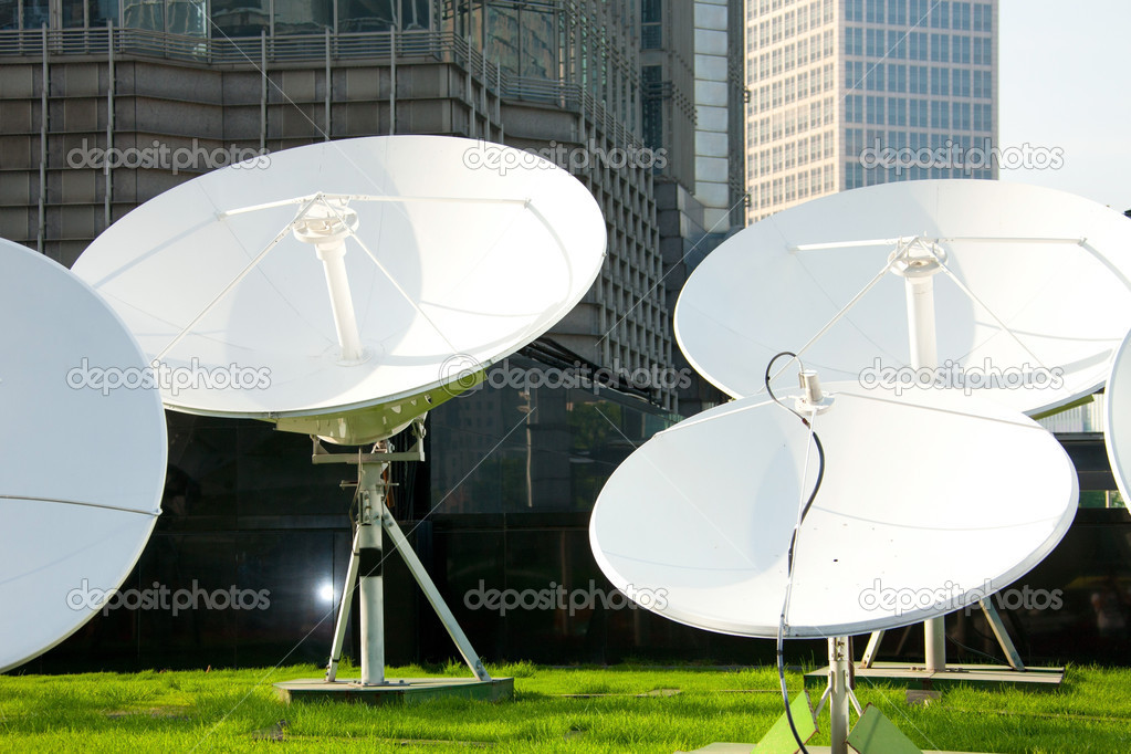 Picture of parabolic satellite dish space technology receivers — Stock Photo #11355562