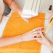 Manicure process on female hands — Stock Photo #11438219