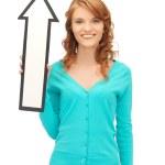 tonårsflicka med riktning pil tecken — Stockfoto