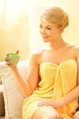 Woman with a cup — Stock Photo