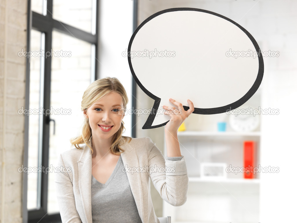 Bright picture of smiling businesswoman with blank text bubble — Stock Photo #11596326