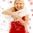 Stock Photo: Thankful girl with snowflakes