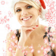 Christmas blond in lingerie black with snowflakes — Stock Photo #11757138