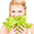 Happy woman with lettuce — Stock Photo #11757619
